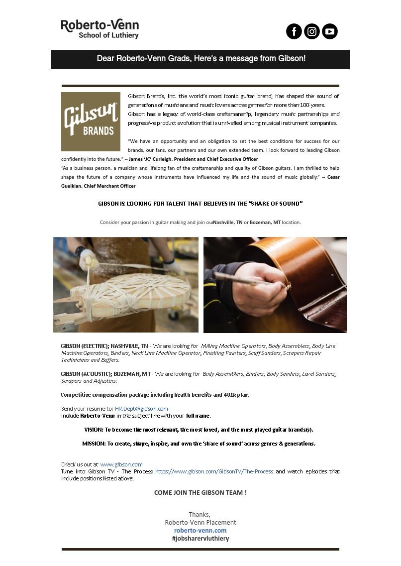 gibson guitars job Job Opportunities