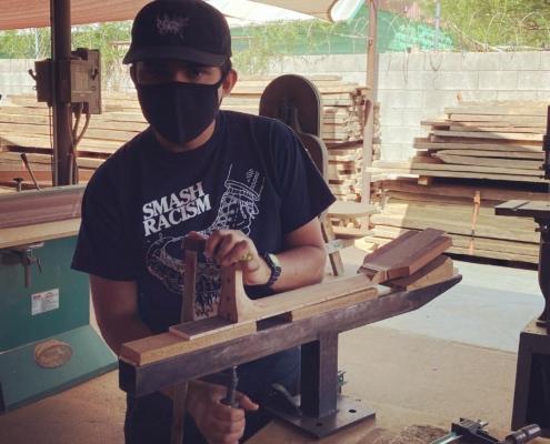 Roberto Venn Neck Carving 495x400 Featured Alumni, Guitar Road Tech Class and Shop Life